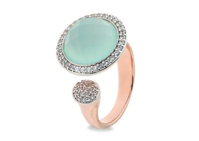 Faceted chalcedony ring with cubic zirconia