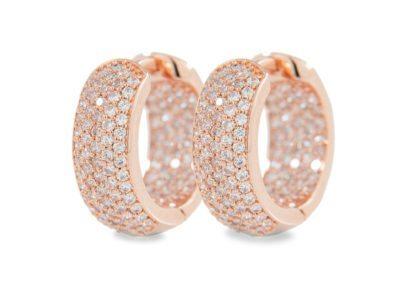 Pavé cubic zirconia hoop earrings